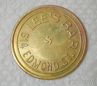 Vintage Iowa/Missouri LEE'S BAR 514 EDMOND w/Good Luck SWASTIKA 5c Trade Token