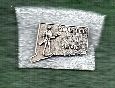 Peweter State Outline ~ Connecticut Jaycees Pin