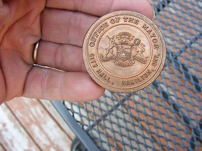 Old Vintage  Office Of The Mayor Coin/paperweight Medal Mayor Hamilton Canada