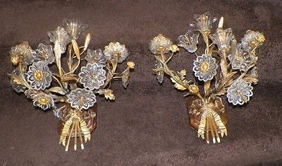 Vintage Amazing Pair Of French Brass Sconces With Glass Flowers Bows