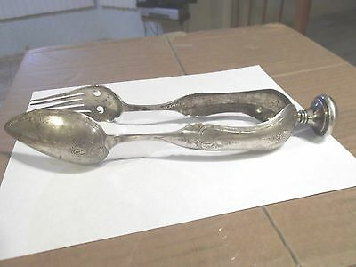 Antique Dutch Solid Silver Ice Salad Tongs  Jointed Fork & Spoon Engraved 833