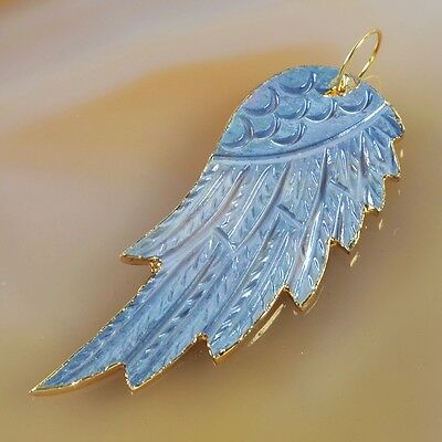 Natural Shell Carved Angel Wing Pendant Bead Gold Plated B032746