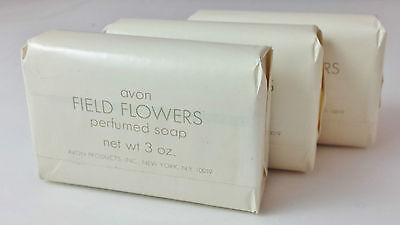 80's Avon Lot of 3 Soaps - Field Flowers Perfumed Soap - 3 oz each - New Sealed