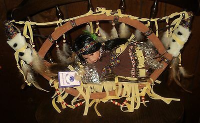 """Native American Indian Goldenvale Collection 10"""" Porcelain Doll """"ZOE"""" W/COA"""