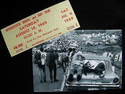 Authentic Woodstock Music Arts Festival Green Ticket 1969  & Peace Photo