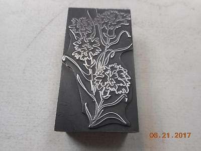Printing Letterpress Printers Block, Tall Decorative Flowers, Printers Cut