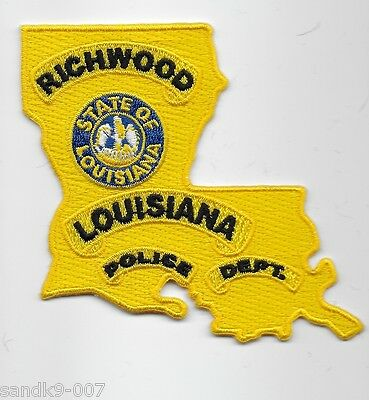 State Shaped NEW Richwood Police State of LOUISIANA LA Shoulder Patch