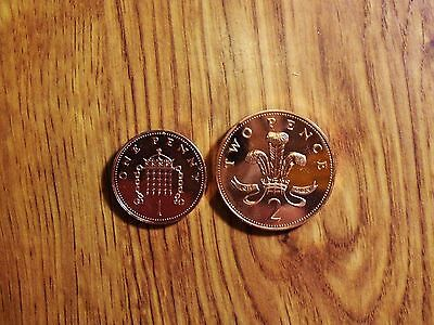 Great Britian 1 & 2 Pence  1985 Unc. Coins (247)
