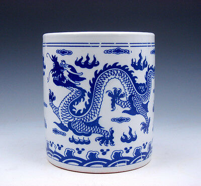 Blue&White Glazed Porcelain Double Dragons Fire Flames LARGE Brush Pot #10261625