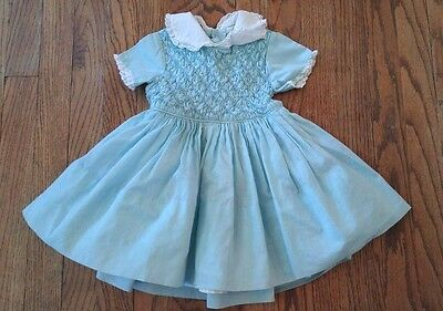 VTG 60s 70s Polly Flinders Hand Smocked Retro Toddler Girls Crinoline Dress Sz 3