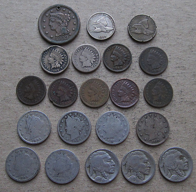 Mixed US Type Coin Lot-Large Cent,Flying Eagle,Indian Head,Liberty & Buffalo 5c