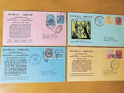 e) 4 HAWAII JUBILEE 1936 Envelope Covers w/ Postmarked Antique Hawaiian Stamps
