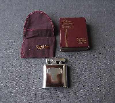 Vintage Whirlwind Ronson Brown Enamel Silvered Metal Lighter Box & Felt Pouch