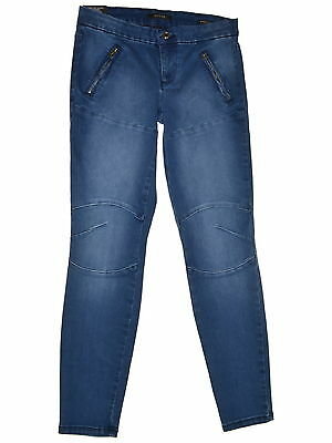 GUESS 1029 Size 27 Womens NEW Blue Skinny Jeans Zip-Detail Seamed Medium Wash