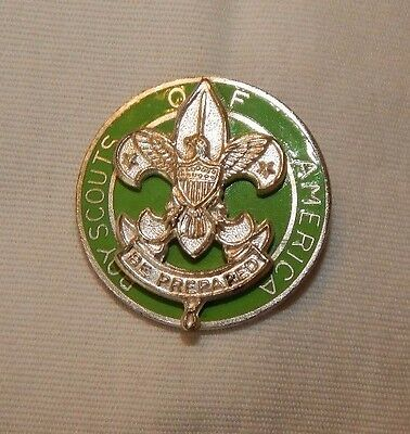 Vintage Boy Scouts Of America Green & Silver Scout Master Pin