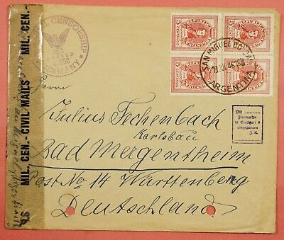 1946 Argentina Quad Franked Cover To Germany Civil Censored