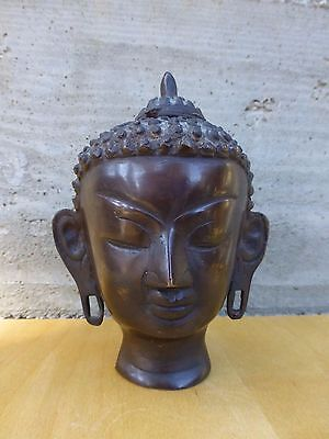 Great Vintage south asian Buddha Head ( Thai ?)-patinated bronze [Y8-W7-A9-E9]