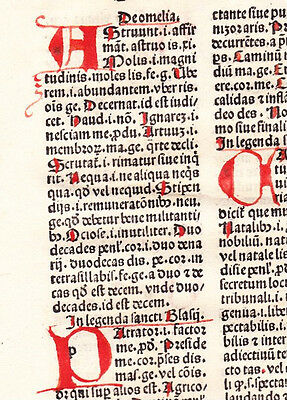 1 Leaf 1494 Incunabula Medieval Latin MAMMOTRECTUS with 8 Amazing RED Initials