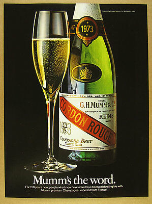 1980 Mumm Cordon Rouge Champagne 1973 bottle photo vintage print Ad