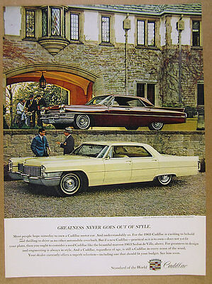 1965 Cadillac Sedan Deville cape ivory color car photo vintage print Ad