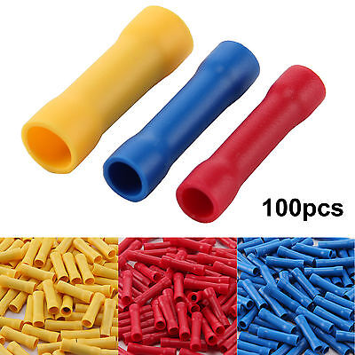 100 x Insulated Electrical Straight Butt Connectors Terminal Wire Cable Crimps