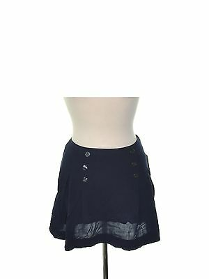 FREE PEOPLE 0600 Size 8 Womens NEW Navy Solid A-Line Skirt Button-Detail $68
