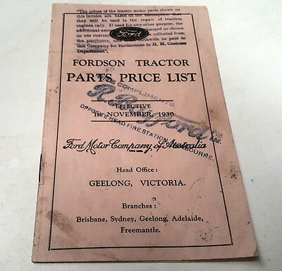 1930 FORDSON TRACTOR Australian Parts Price List  VERY RARE