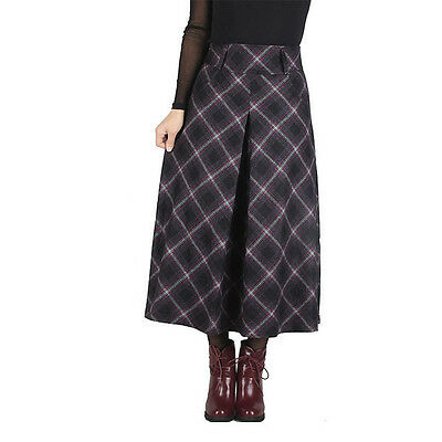 Fashion Women Thick Wool Pladis Cheks Long Full Skirt A-line High Waist Dress