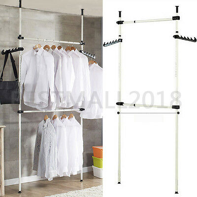 2 Poles 2 Bars Coat Hanger Tools Garment Rack DIY Clothes Wardrobe