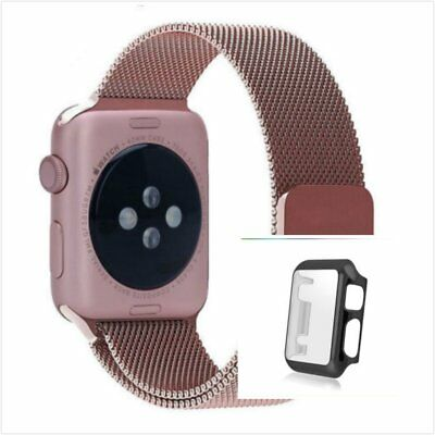 Rose Milanese Metal Band Strap For Apple Watch 42mm Full Protect Black Case