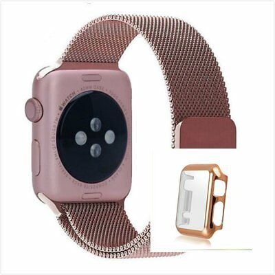 Rose Milanese Metal Band Strap For Apple Watch 42mm Full Protect Rose Gold
