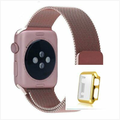 Rose Milanese Metal Band Strap For Apple Watch 42mm Full Protect Gold Case