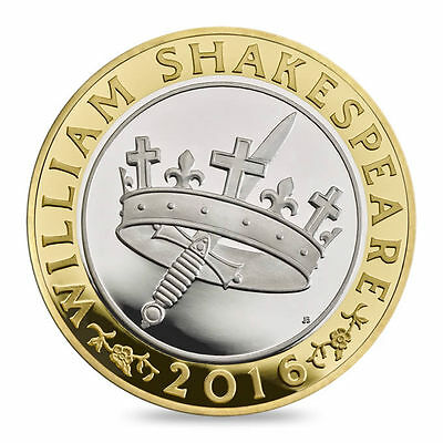 WILLIAM SHAKESPEARE CROWN & SWORD COIN £2 Two Pound Coin HISTORICAL WORKS