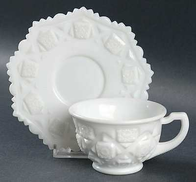 Westmoreland OLD QUILT (MILK GLASS) Cup & Saucer 862850