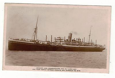 Aberdeen & Commonwealth Line.s.s.largs Bay. Old R.p Postcard See Pictures