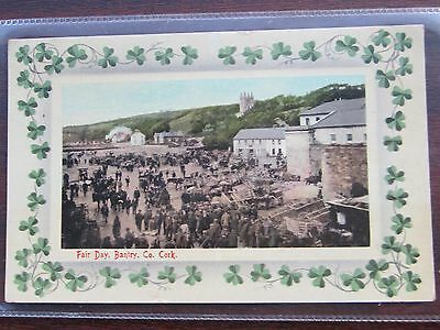 Fair Day, Bantry, County Cork, Ireland, used 1917 colour shamrock border.
