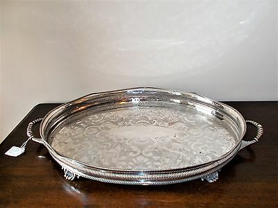 Large Vintage Sheffield Silver Plated Gallery Tray Looped Handles