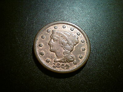 1844 United States Us Large Cent Coin. Scarce! Lustre