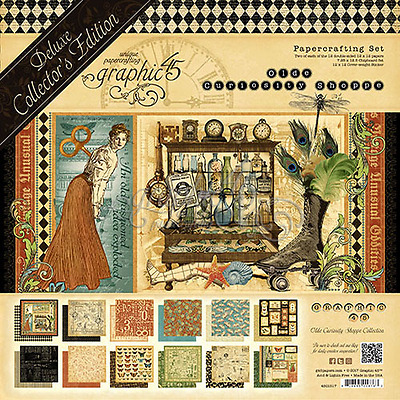 "NEW  Graphic 45 12"" x 12"" Deluxe Collectors Papercrafting Old Curiosity Shoppe"