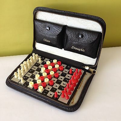Vintage Travel Chess / Draughts Set - 1960s - Suit Camping / Camper Van