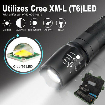 G700 X800 XML T6 LED Tactical Rechargeable Flashlight+18650 Battery+Charger+Case