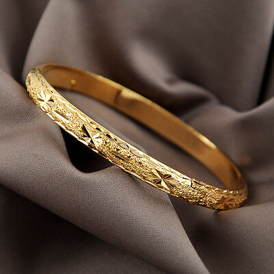 Women Bangle 18K Yellow Gold Filled Unique Bracelet 60MM Charms Jewelry