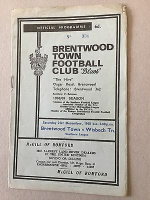 BRENTWOOD TOWN v WISBECH TOWN 1968/9.