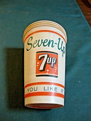 """3 Vintage Seven Up It Likes You Wax Cups 4 1/2"""" Tall"""