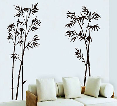 Bamboo Ink Painting Living Room Wall Decals Wall Sticker Removable Chinese Style