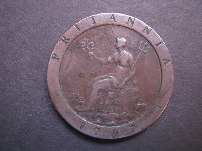 George III Copper Cartwheel Penny with 10 Leaves - 1797 Fine