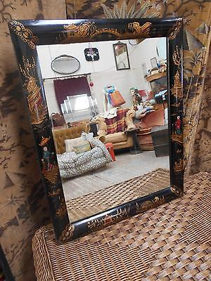 Antique Vintage Chinese Lacquered Mirror