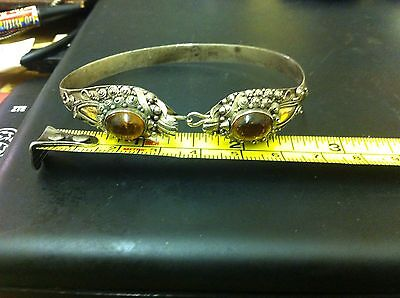 Antique Chinese Silver And Amber Bracelet With Gold Detail Free Uk Post