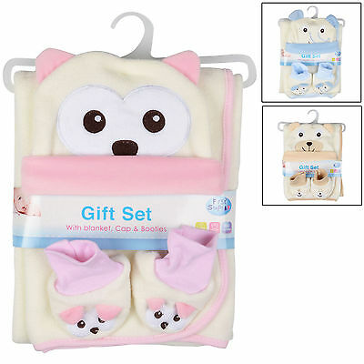 Baby Gift Set With Blanket With Cap & Booties Newborn Christening Present New
