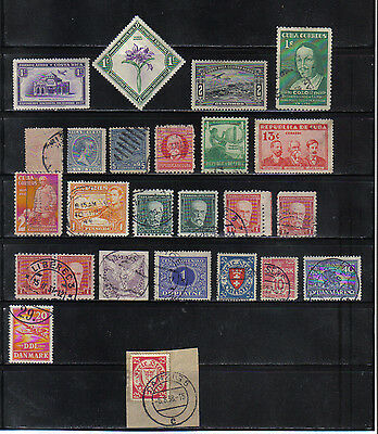 25 Older Mostly Used Costa Rica Czech And Denmark Stamps